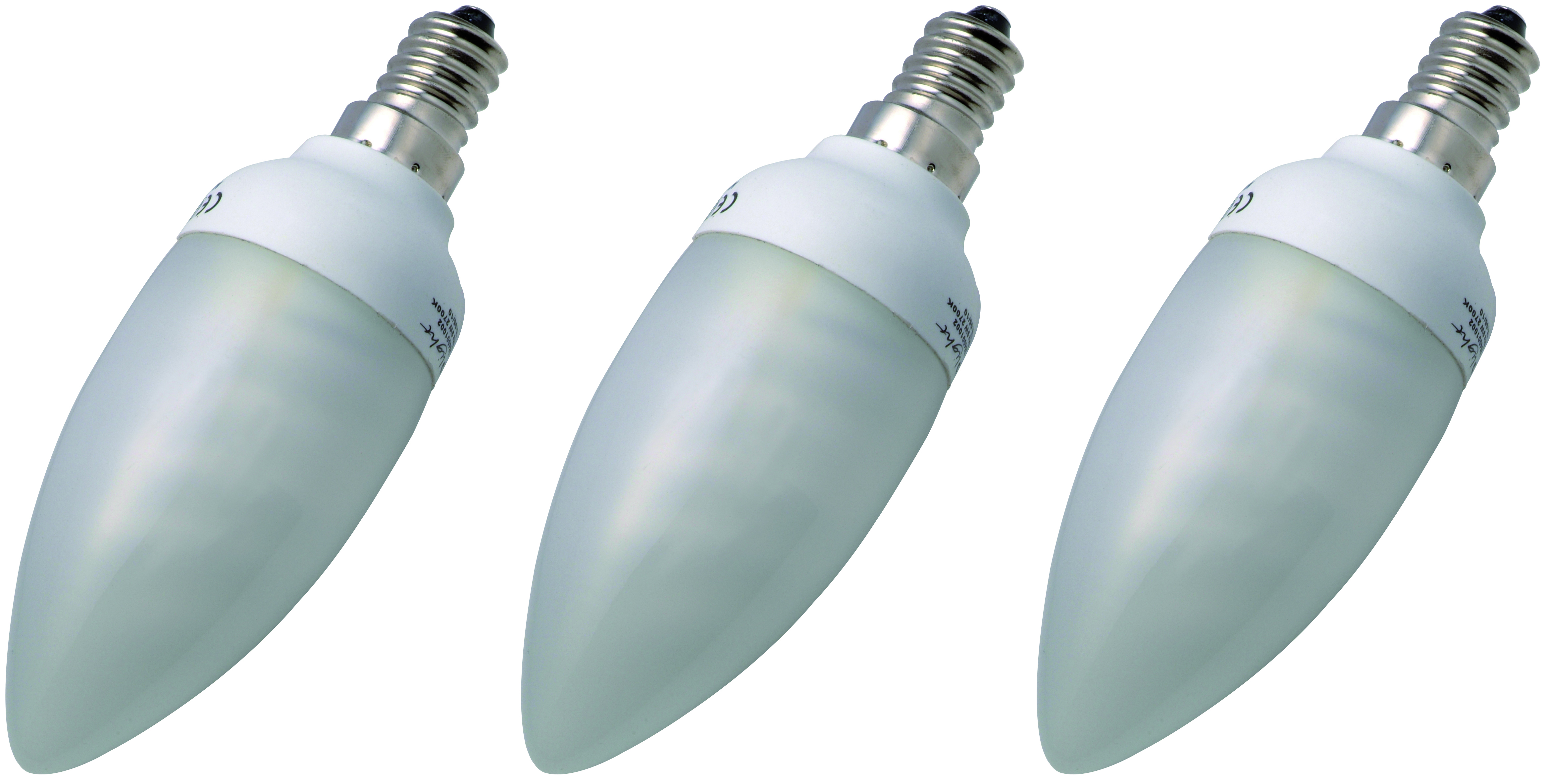 Compact fluorescent candle E14 7W 3 pieces